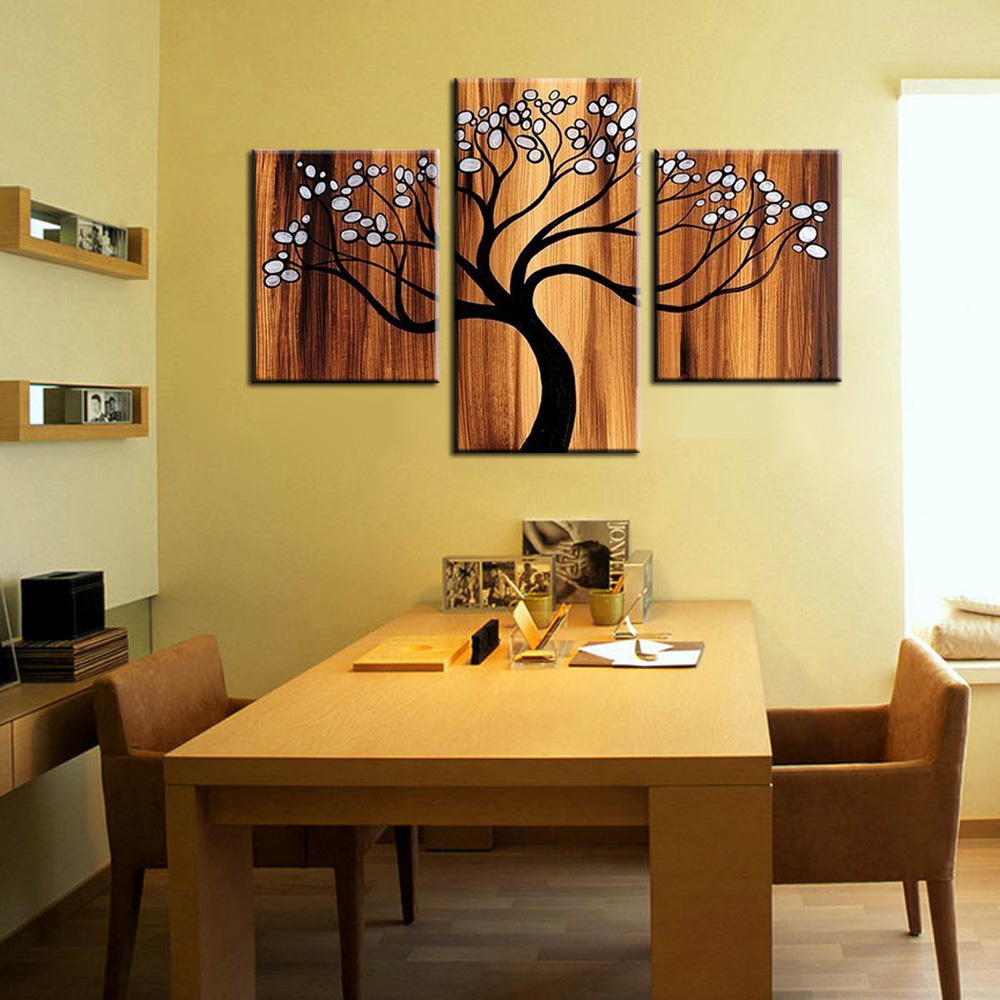 3 piece canvas wall art Modern abstract tree of life picture oil ...