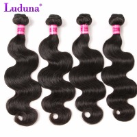 Peruvian Body Wave Hair Bundles 100% Human Hair Bundles Luduna Peruvian Non-remy Hair Extension Natural Black Weave 8-28inch