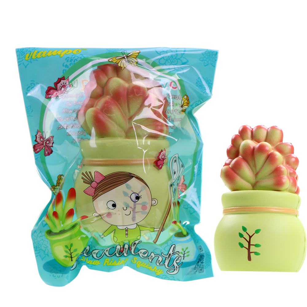 10pcs/lot Slow Rising Squishy Toys Vlampo potted succulents Lucky Plant Home Office Decoration pressure stress release Toys 14cm