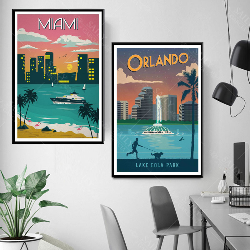 Hd Print Canvas Art Painting New York Netherlands Amsterdam London Vintage Travel Cities Landscape Posters Wall Art Picture