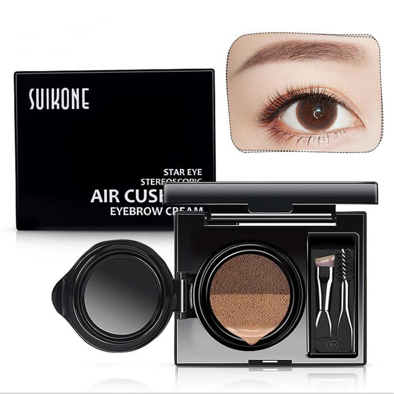 Eyebrow Enhancers 1pc Eyebrow Dye Cream Eyebrows Powder Natural Air Cushion Double Color Eyebrows Seal Waterproof Mascara Eye Makeup Cosmetics