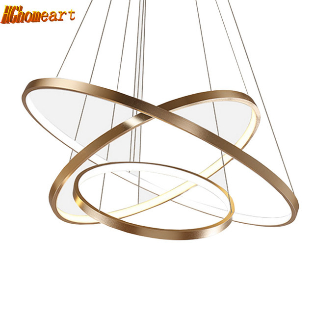 HGHomeart Fashion Ring Chandeliers LED Luster Living Room Lamp