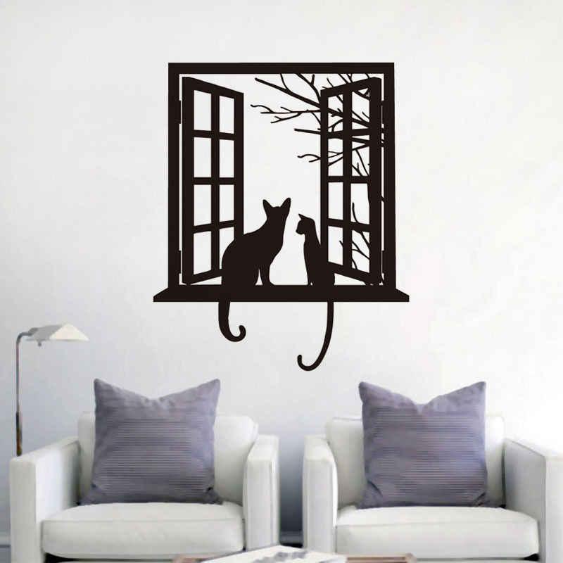 Cute Cat Wall Art Decals Mural Adesivo
