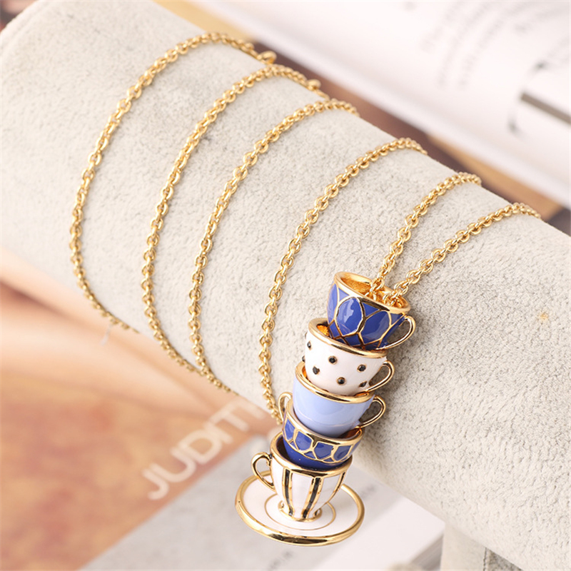 Women's Personality Trend Hand Painted Enamel Necklace Jewelry Teacup Pendant Long Chain Choker Necklace Women's Gift christmas bell enamel pendant necklace