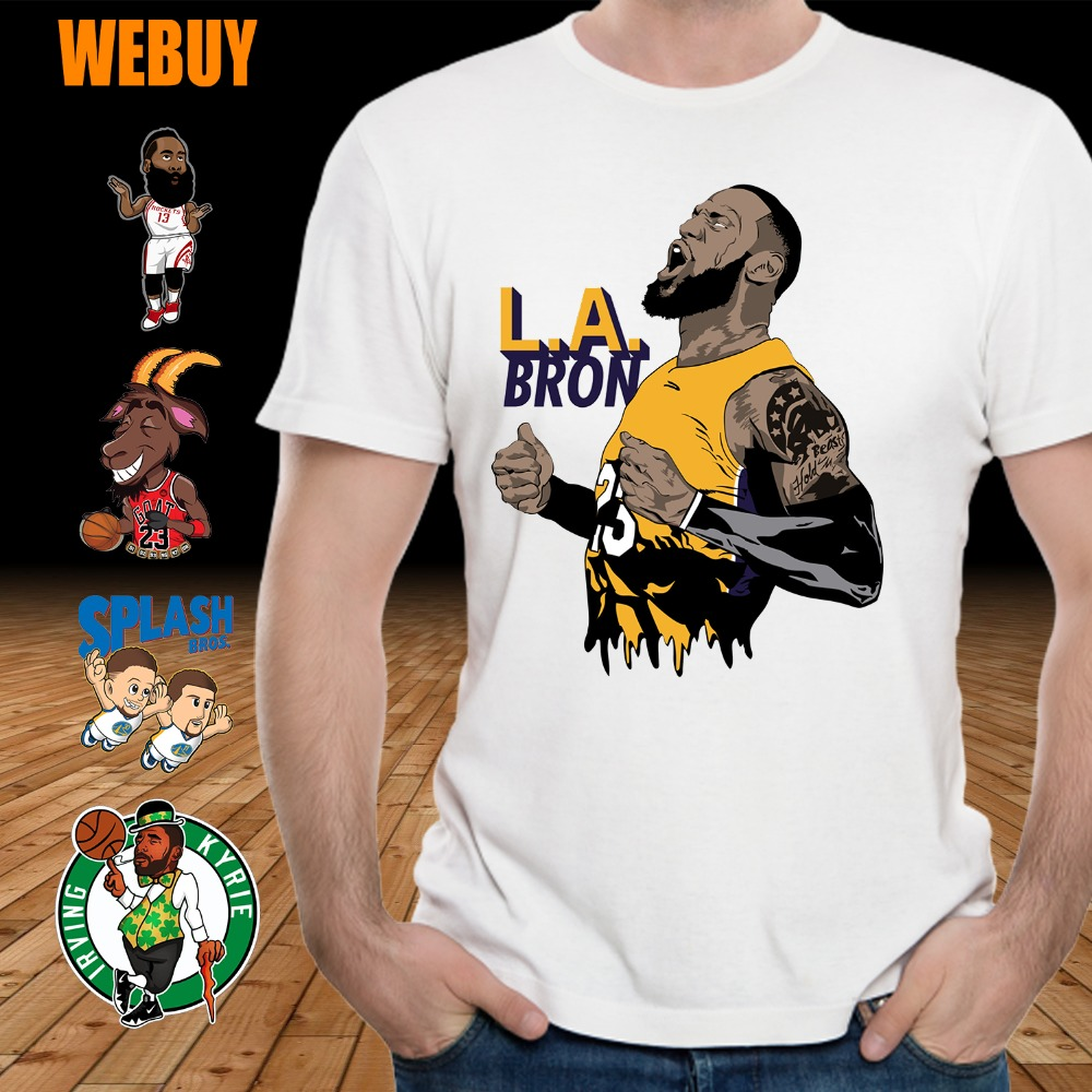 free shipping b573d a5992 US $8.85 45% OFF|Men's Kyrie Irving Stephen Curry t shirt James Harden  LeBron James Lakers Tee Shirt Michael Jordan Plus size-in T-Shirts from  Men's ...