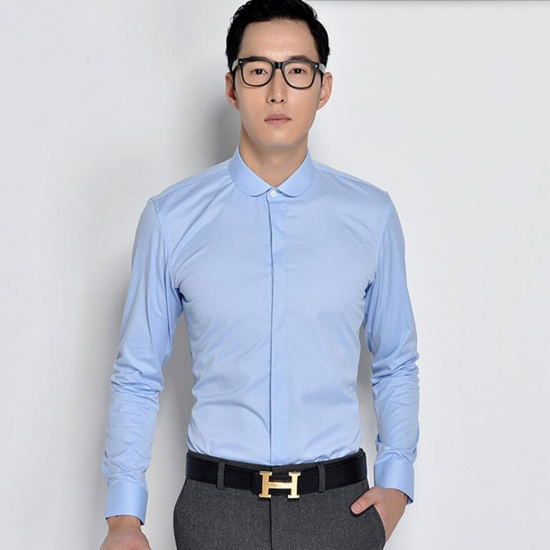 New arrival men shirt elegant fashion groom shirt solid for Dress shirt for interview