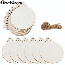OurWarm 10pcs Natural Round Wood Slices Circles For DIY Crafts Wedding Party Painting Decoration Christmas Bell Hanging