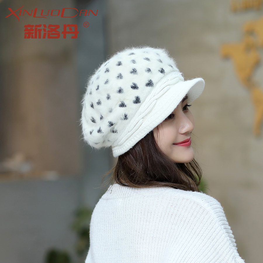 2017 Warm Winter Hat For Women Love Spots Newsboy Cap Wool Mixed Rabbit Fur Warm Knitting Winter Hats Skullies Beanies WH189 princess hat skullies new winter warm hat wool leather hat rabbit hair hat fashion cap fpc018