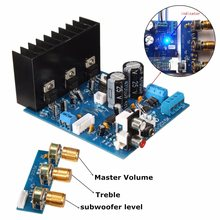 1Pcs TDA2030A 2.1 Subwoofer Amplifier Board AC 12V 3-Channel Electronics Module 18W +18 W with 6Pin cable
