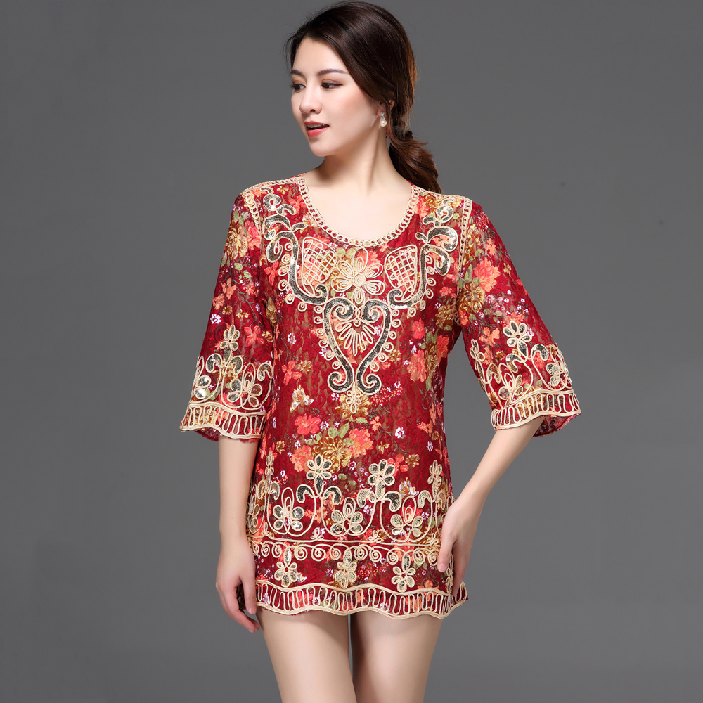 3D Lace Blouse Shirt Women Blusas Femininas 2018 Summer Casual Loose  Oversized Holiday Party Embroidery Flower Sequin Top -in Blouses   Shirts  from Women s ... 4b94c8ca2310
