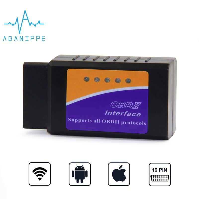 Aganippe Wifi OBD2 elm327 v1.5 Wi-fi Car Diagnostic Tool Elm 327 OBD 2 wifi For iPhone eml327 1.5 odb2 Scanner For IOS Scan Tool