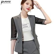 Spring Women Blazer 2019 New Fashion Temperament Stripes Patchwork Slim Jacket Office Ladies Half Sleeve Casual Business Coat