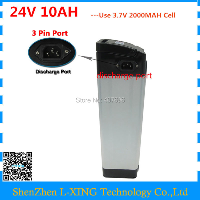 24V 10AH Silver fish batterie 24 v 10ah lithium ion Ebike battery 15A BMS top discharge with 29.4V 2A Charger Free customs fee free customs fee 1000w 36v 17 5ah battery pack 36 v lithium ion battery 18ah use samsung 3500mah cell 30a bms with 2a charger