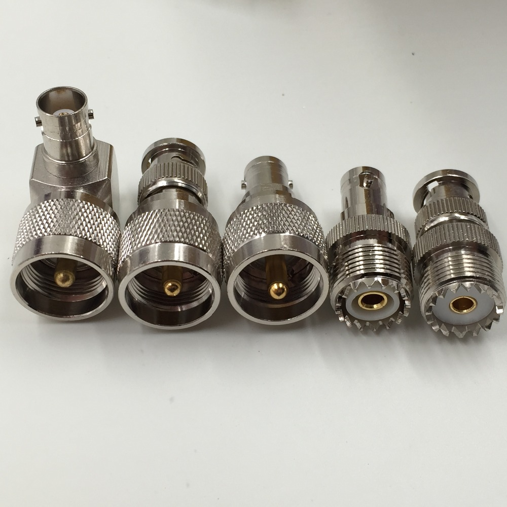 Kit Adapter 5pcs/set PL259 SO239 to BNC male female RF connector Test converter adapter sma plug male to 2 sma jack female t type rf connector triple 1m2f brass gold plating vc657 p0 5