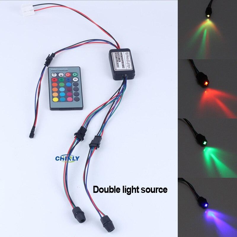 Seite leuchten glasfaser-beleuchtung 2 Watt DC 12 V auto/home dekorative licht illuminator konstante stromversorgung + 24 schlüssel fern RGB