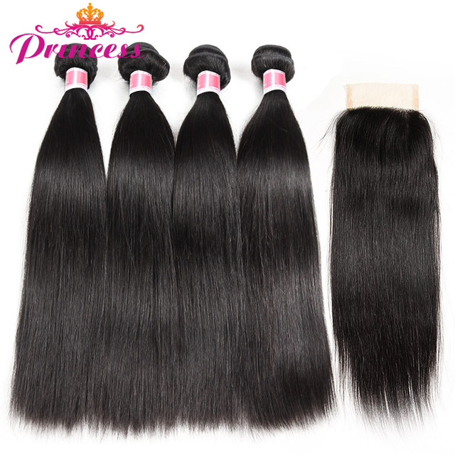 Belle Princesse Péruvienne Cheveux Raides Avec Fermeture 4*4 Partie Libre de Cheveux Humains 3 Bundles Avec Dentelle Fermeture NonRemy