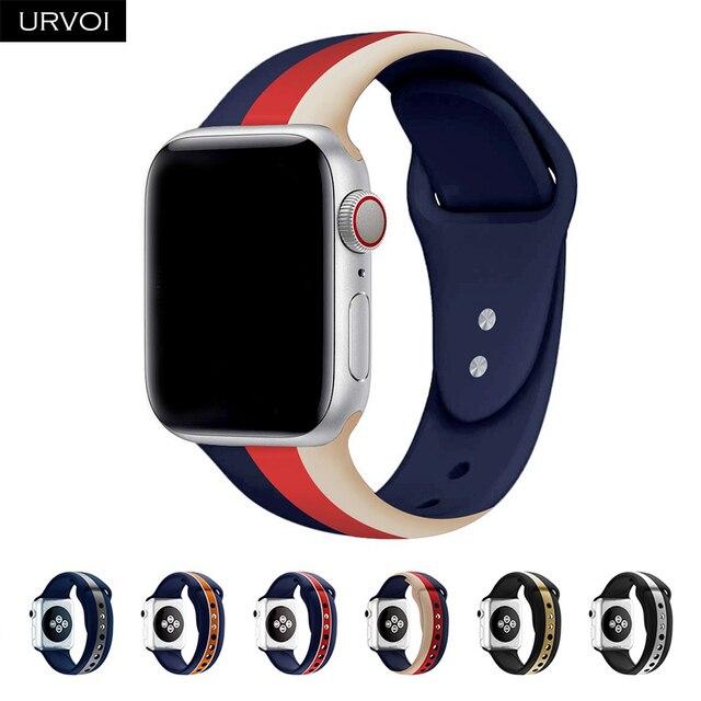 URVOI Sport band для Apple Watch series 4 3 2 1 силиконовый ремешок для iWatch красочные мягкие Замена AW адаптер 38 40 42 44 мм