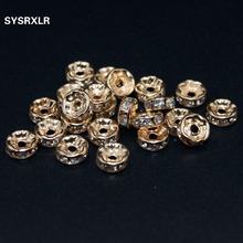 цена на Wholesale 100 Pcs 6 /8 MM Champagne gold Copper Wheels Spacers Beads  AB Plated Rhinestone Beads For Jewelry Making DIY Bracelet