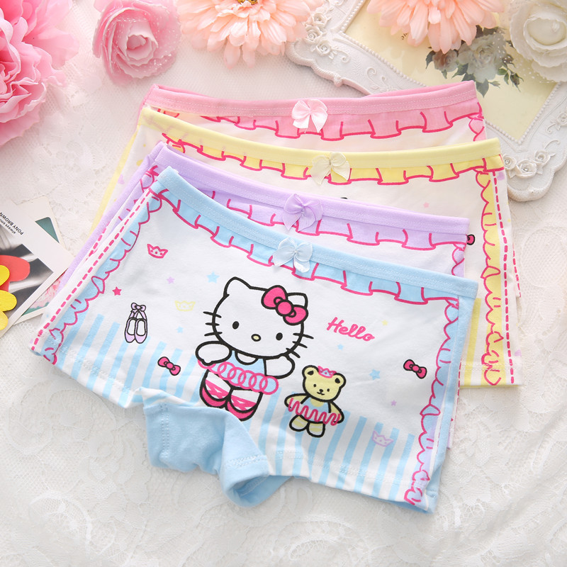 Bild von 4pcs/Lot Cute Children Girls Cat Underwear Kids Fashion Boxer Brief Infant Baby Girl Panties fashion children underpants