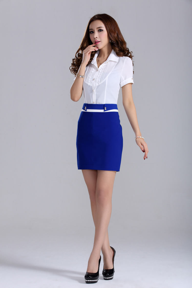 blue Bodycon Ladies Office Corporate Work vintage Formal Pencil ...