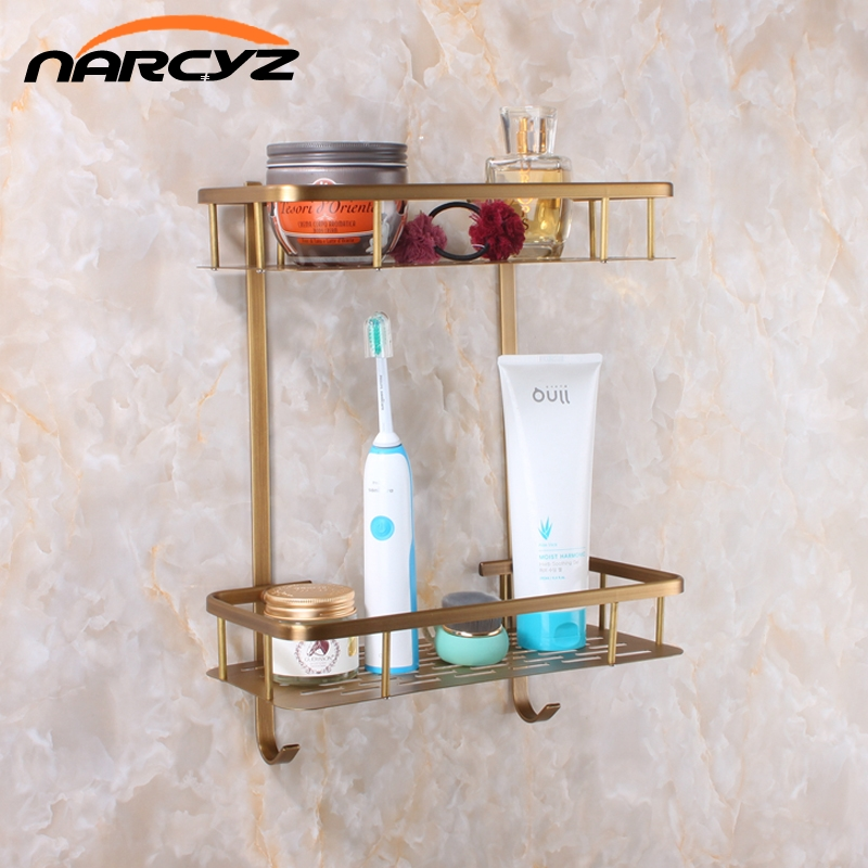 brass Bathroom Accessory Kitchen And Bathroom Shelf Dual Tier With Hook Shower Bracket Basket Free Shipping 9102K val pnk 04 30 40 25