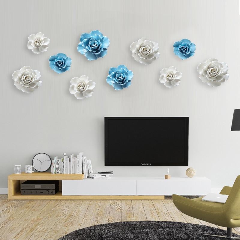 Ceramic Wall Flower Decor: 3D Wall Mural Flower Art Rose Ceramic Flower Wall