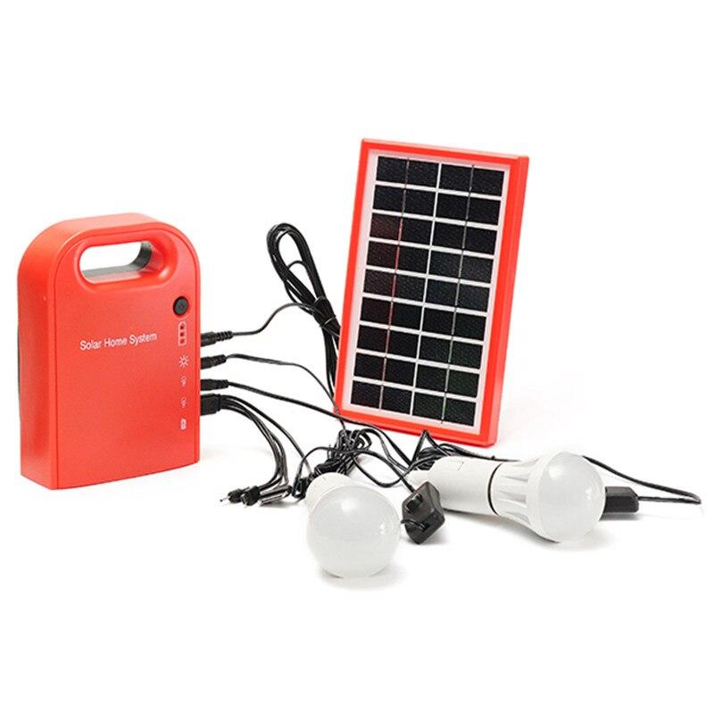 Rouge Portable Grande Capacité batterie Portable solaire Système Domestique Panneau avec 2 ampoule LED pour Camping Lumière D'urgence