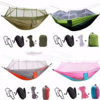 Portable Outdoor Nylon Parachute Cloth Hammock With Mosquito Net Double Garden Hunting Leisure Travel Camping Survival