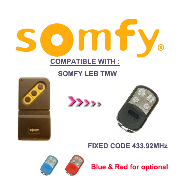 2pcs for somfy leb tmw4 433mhz remote control fixed code. Black Bedroom Furniture Sets. Home Design Ideas