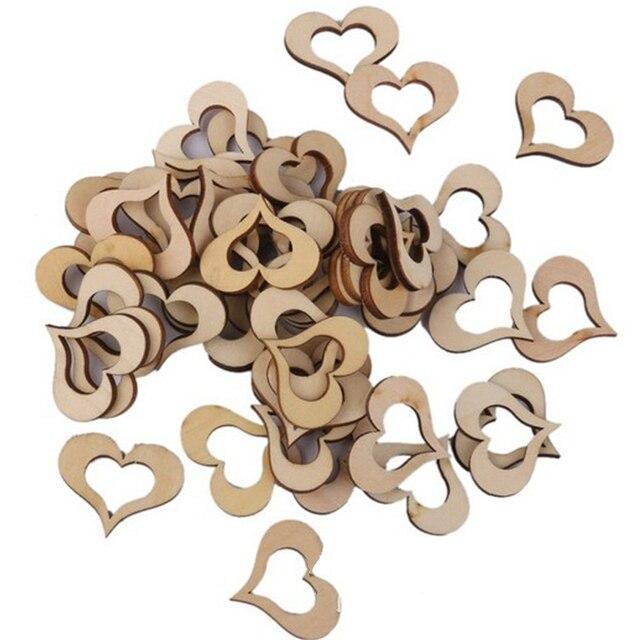 Baby Shower 100 шт. 1/2/3 см вырезанные лазером сердечки формы из натурального дерева с орнаментом Свадебные украшения для дня рождения вечерние дети, B