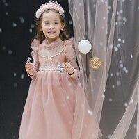 شتاء جديد الأطفال الفتيات اللباس زائد المخملية الأميرة توتو اللباس تأثيري حلي الأميرة كم طويل الرباط اللباس حزب 3-8 العمر