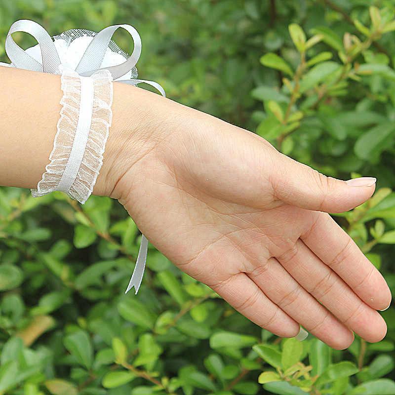 WifeLai-2 ピース PE ローズハンド手首とリボン結婚式結婚式の花嫁ブートニエールと新郎 SW003