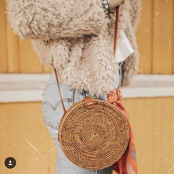Five-star Pattern Buckle Round Straw Bag Circle Rattan Straw Beach Shoulder Bag For Women Сумка