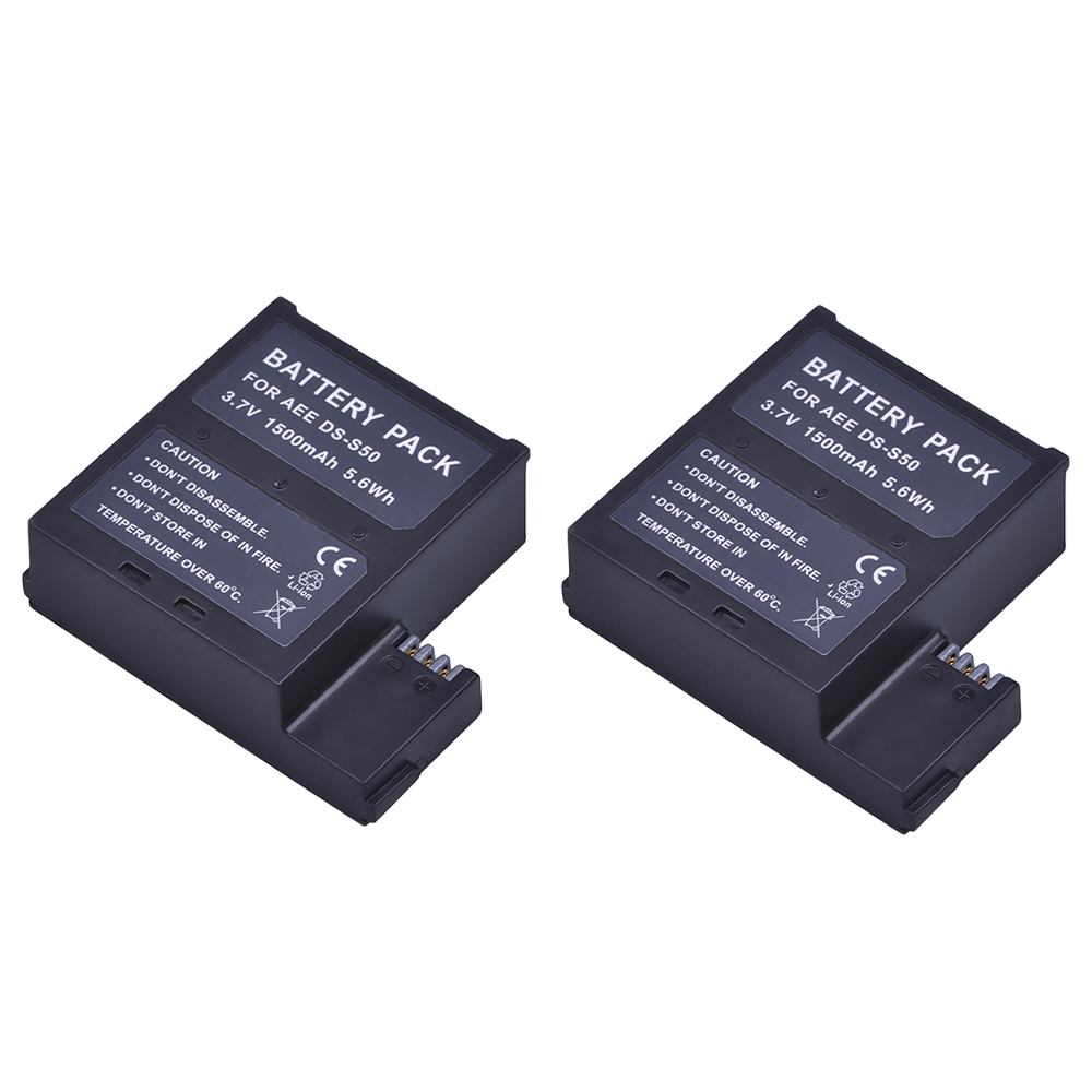 Batmax 2Pcs 1500mAh DS-S50 DSS50 S50 Battery Packs Accu for AEE DS-S50 S50 Battery AEE D33 S50 S51 S60 S71 S70 Cameras ...