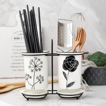 Ceramic chopsticks tube drain chopsticks box household chopsticks bucket Nordic storage rack chopsticks cage wx9031702 фото