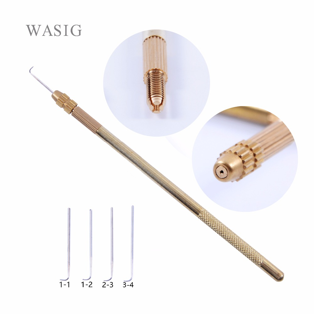 4 pcs Ventilating Needles +1 Brass Holder Make/Making/Repair Lace Wigs Toupee Hairpiece Wig Knotting Hook Sets fashion hair fiber braided bun twisted fake chignonn hairpiece clip buns toupee for women a18