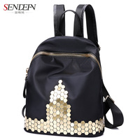 2017 New Style Fashion Women Backpack Exquisite Luxury Rivet Decoration Canvas Cool Female Backpack