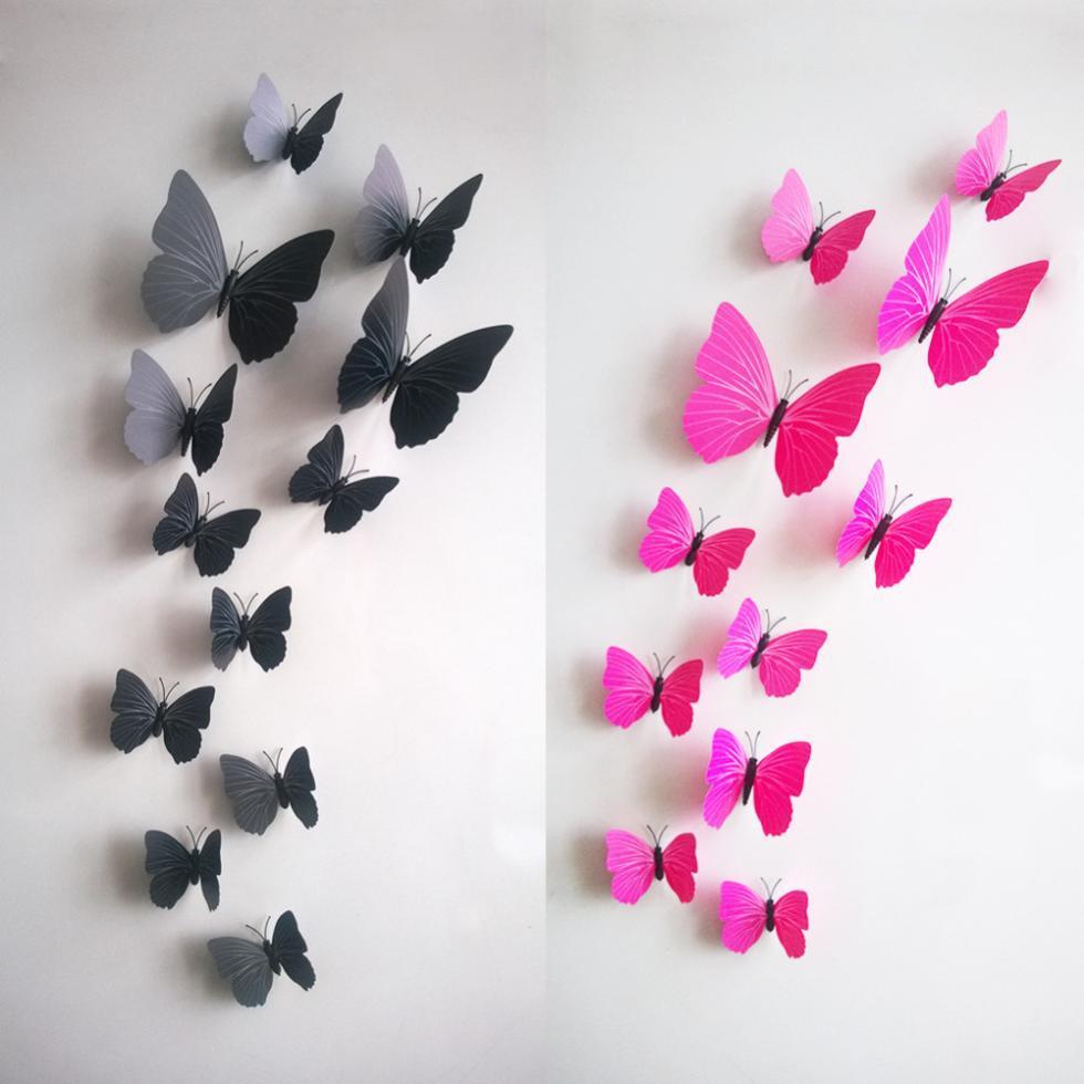 Venta caliente de la Pared de La Mariposa 3D Decals12pcs 6big 6 pequeña PVC 3D M