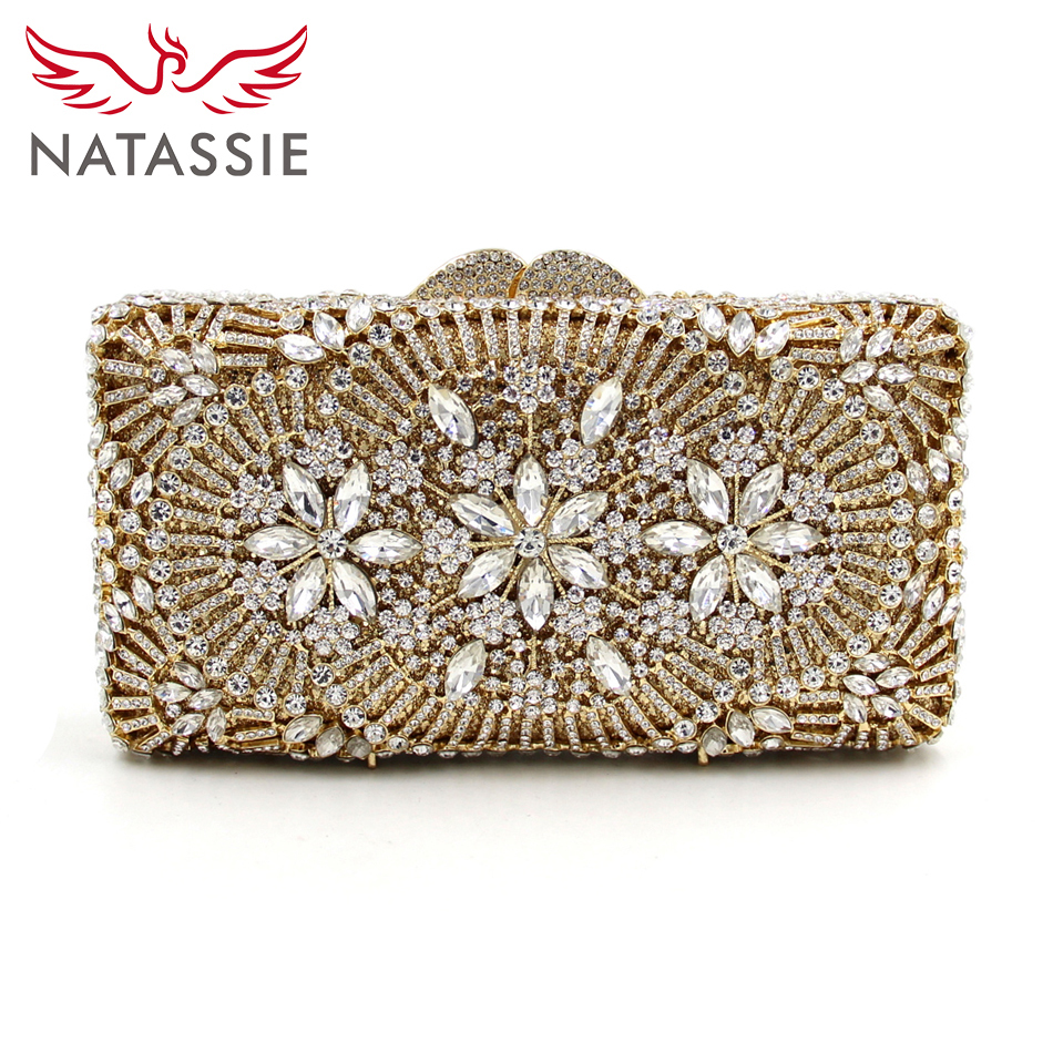 ФОТО NATASSIE 2017 NEW Women Gold Clutch Purses Ladies Floral Evening Bag Female Party Wedding Bags