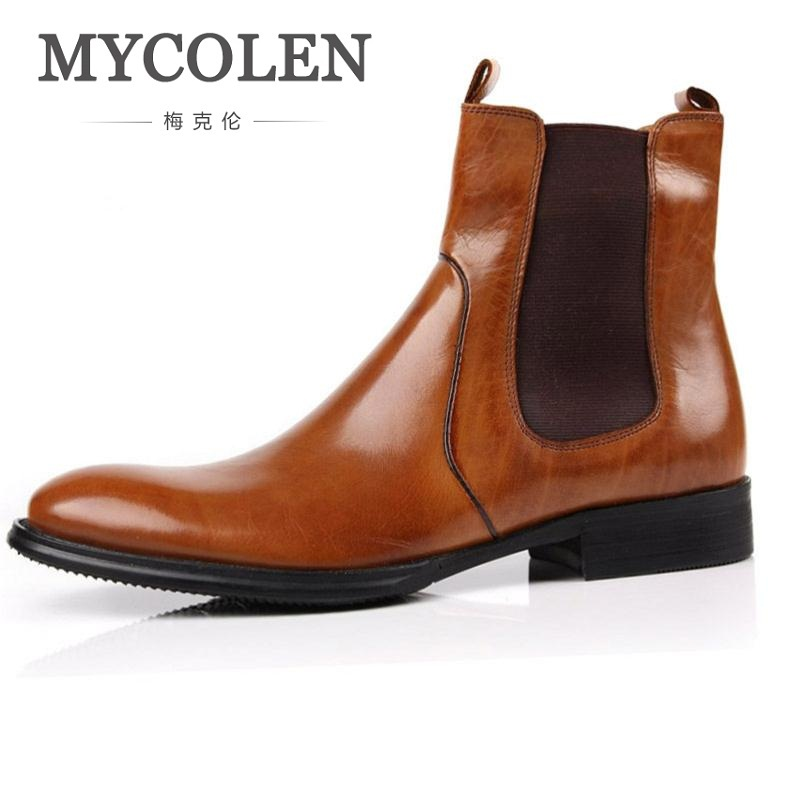 MYCOLEN Men Shoes Luxury Genuine Leather High Top Boots Flats British Style Ankle Men Shoes Male Pointed Toe Brand Boots