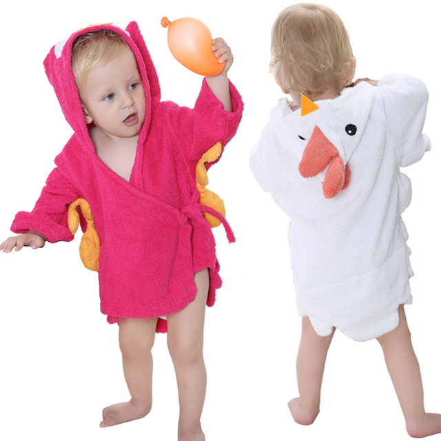 Children's Robe Bath Cute Cartoon Baby Bathrobe Comfortable Towel Bath Suction Sweat Home Wear For 0-12 Month 5