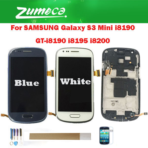 For Samsung Galaxy S3 Mini i8190 GT-i8190 i8195 i8200 Samsung S3 Mini LCD Display+Touch Screen Digitizer With Frame With kit image