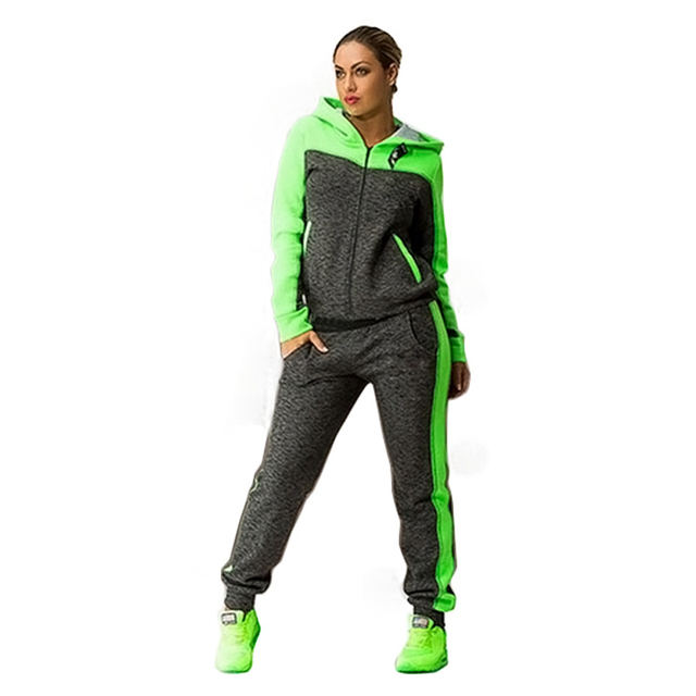 Women 2 piece set suit brand tracksuits Sportswear winter set Long Sleeve cardigan Plus Size Zipper Fleece Thick survetement