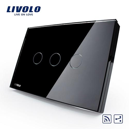 Livolo США/AU стандарт 3 партия 2-way дистанционный сенсорный светильник переключатель, белый, с украшением в виде кристаллов Стекло Панель, VL-C303SR-81, без пульта дистанционного управления - Цвет: Black