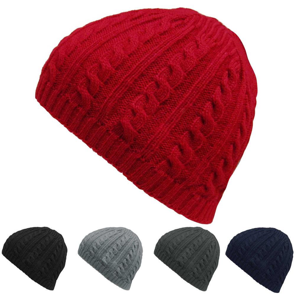 0150aad5b87ea ... Winter Casual Cable Knit Warm Crochet Hats for Women Men Baggy Beanie  Hats Gorros Cap Ski ...