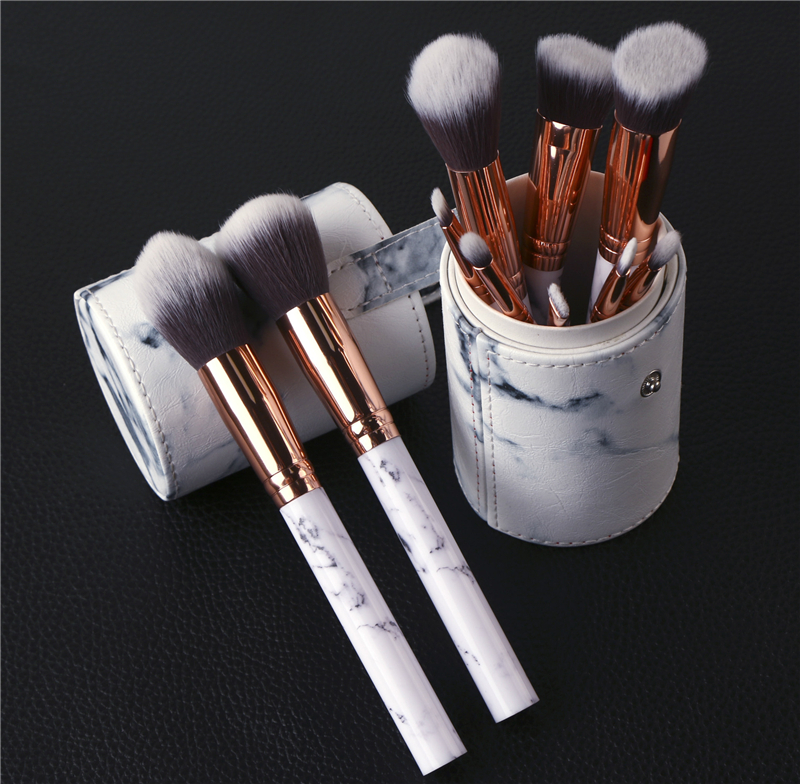 New 10Pcs/Set Plastic Marble Texture Makeup Brushes with Holder Brush Pen Holder Organizer Make up Tool silicone multi texture surface make up brush cleaning tool set