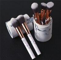New 10Pcs Set Plastic Marble Texture Makeup Brushes With Holder Brush Pen Holder Organizer Make Up