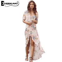 Everkaki Women Vintage Floral Print Long Dress Slim High Waist Short Front Long Back Summer Beach