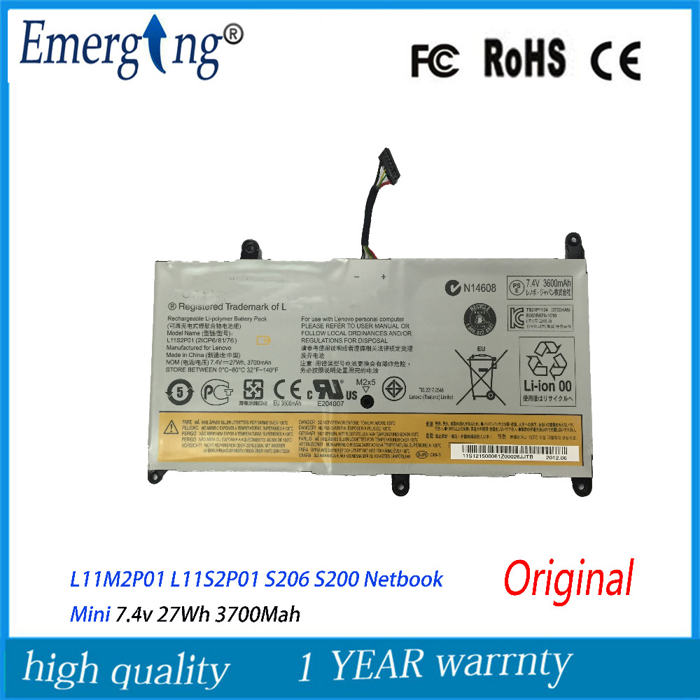 7.4V 27Wh New Original Tablet PC Battery for <font><b>Lenovo</b></font> L11M2P01 L11S2P01 <font><b>S206</b></font> S200 Netbook Mini image