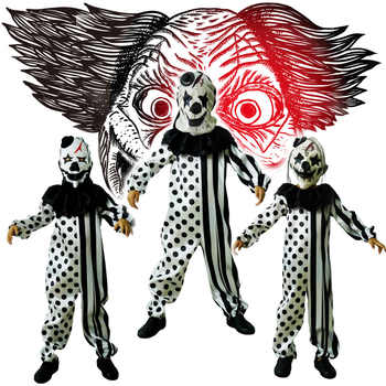 Halloween Children's Striped Kill Clown Cospaly Party Costumes Kids Jumpsuit Mask Killer Clown Costume - DISCOUNT ITEM  0% OFF All Category